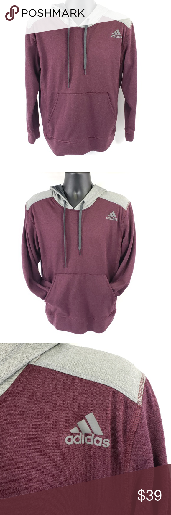 c0185d5d5358 Adidas Climawarm Ultimate Hoodie Burgundy Pullover Adidas Climawarm  Ultimate Hoodie Light Lightweight Pullover Burgundy Red Gray
