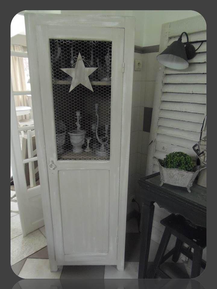 bonneti re toile vintage grillag e patin e perle blanc poudr. Black Bedroom Furniture Sets. Home Design Ideas