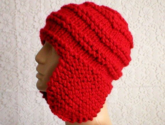 b251f30fc5f3a1 Scarlet red ear flap hat trapper cap aviator hat hunter's cap, an ideal  winter hat for any sport