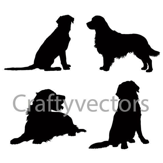 Golden Retriever Silhouettes Vector File Animal Silhouette