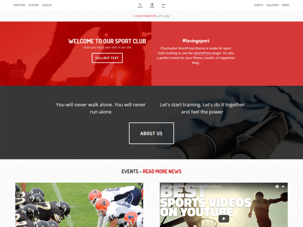 Chuchadon Free Sport Clubs WordPress Theme | Sports clubs, Design ...