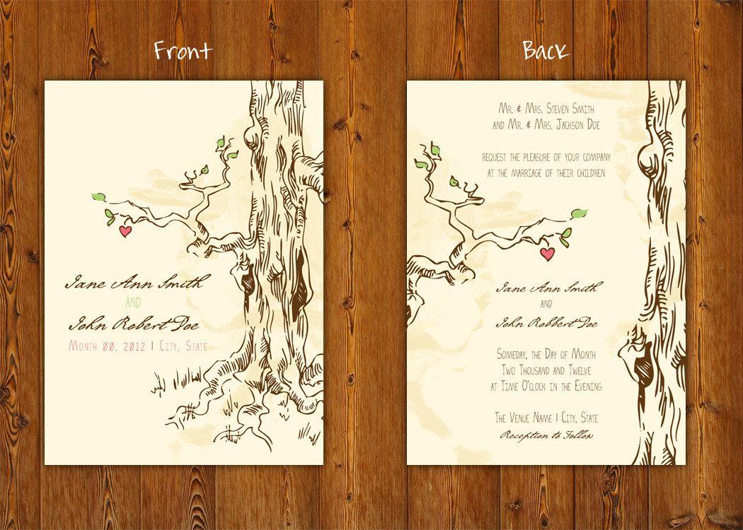 Tree Of Love Printable Wedding Invitations Digital Splendid