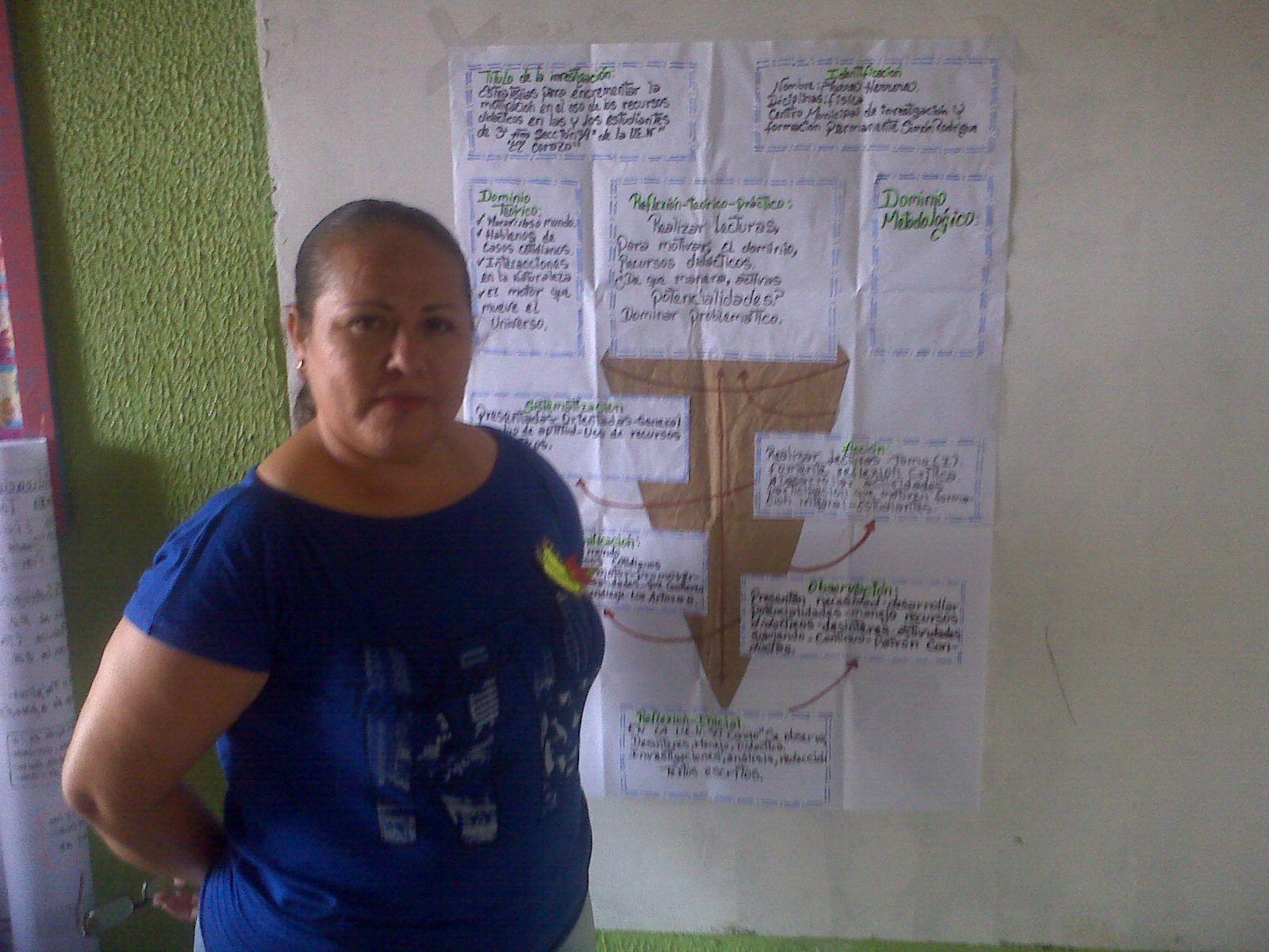 Licda. Aura Herrera del Colectivo de Física de Upata presentando su cono en el I Congreso Pedagógico PD IAPT