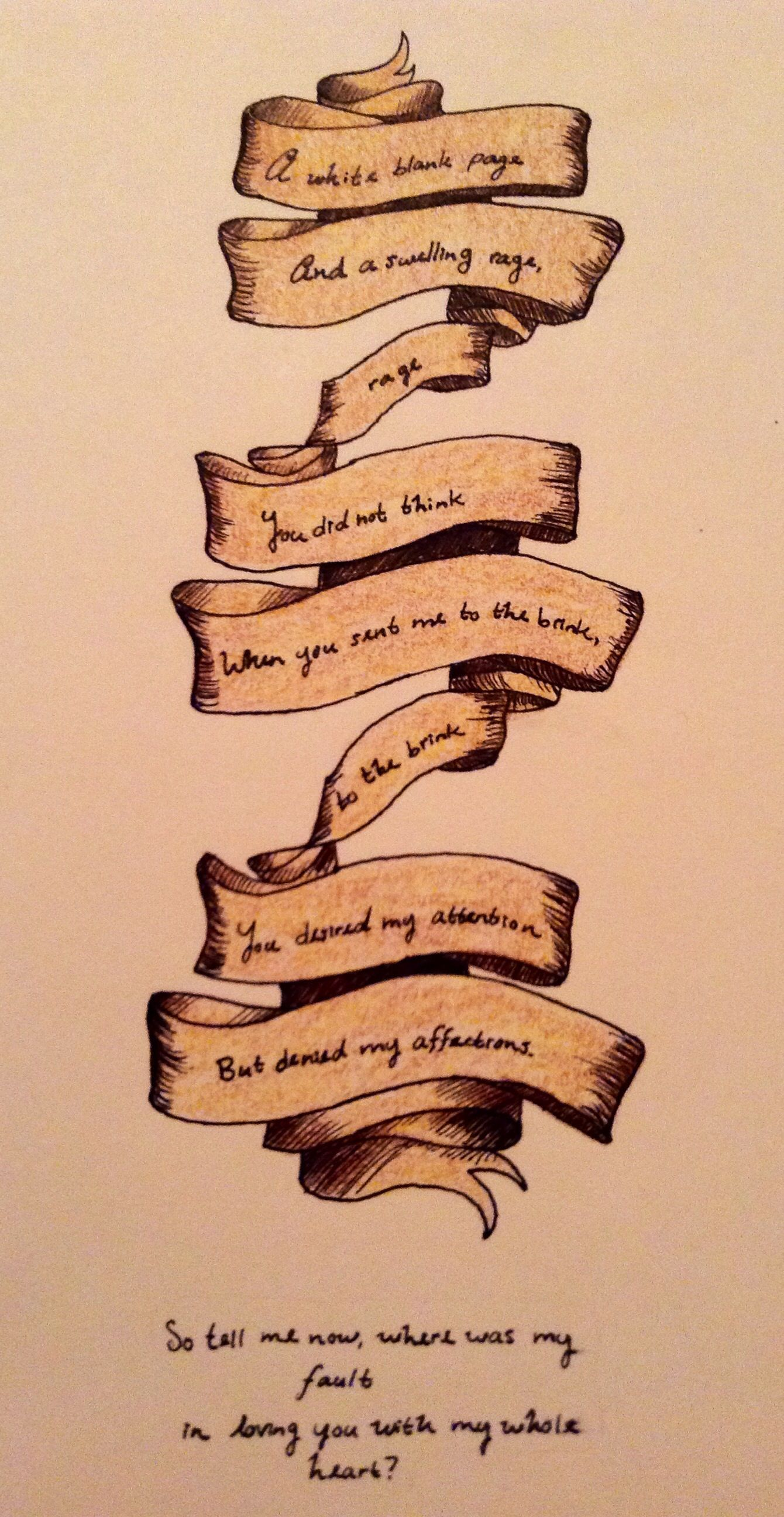 """White Blank Page"""" by Mumford and Sons lyrics done by me with ink"""