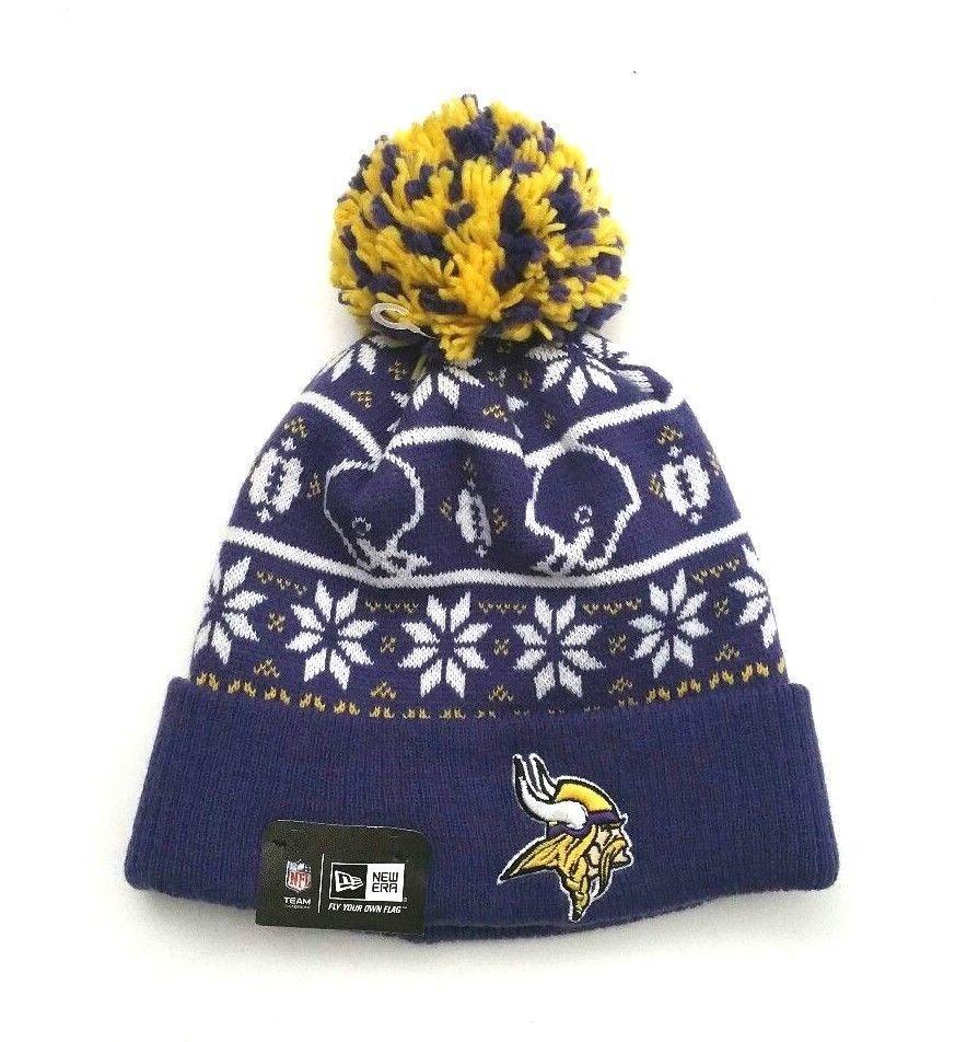 b830f4a2 New Era Minnesota Vikings NFL Sweater Chill Knit Cuffed Pom Skull ...