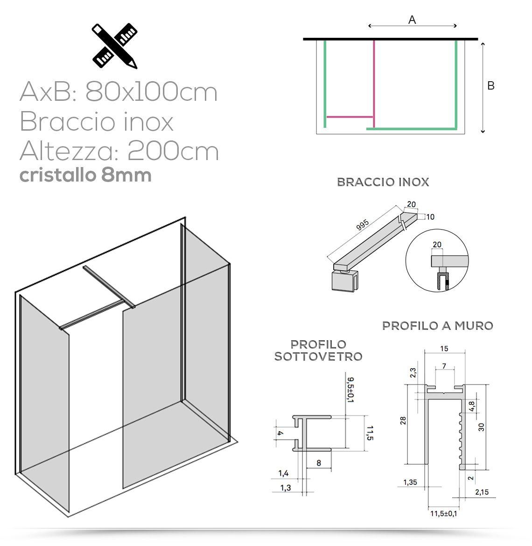Box doccia design Walk in 3 lati per piatti doccia 80x170 ...