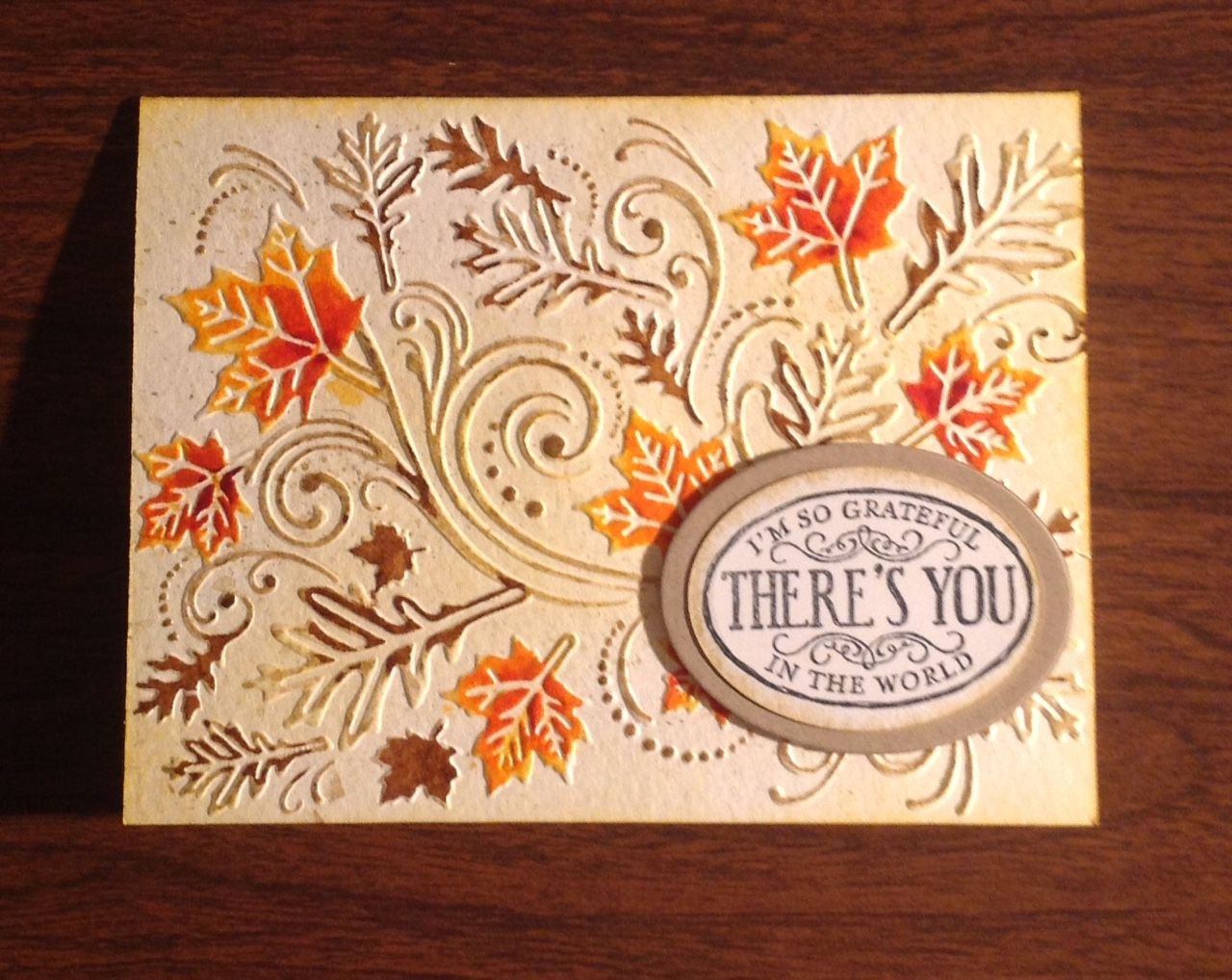 Darice Falling Leaves embossing folder with Tombow markers