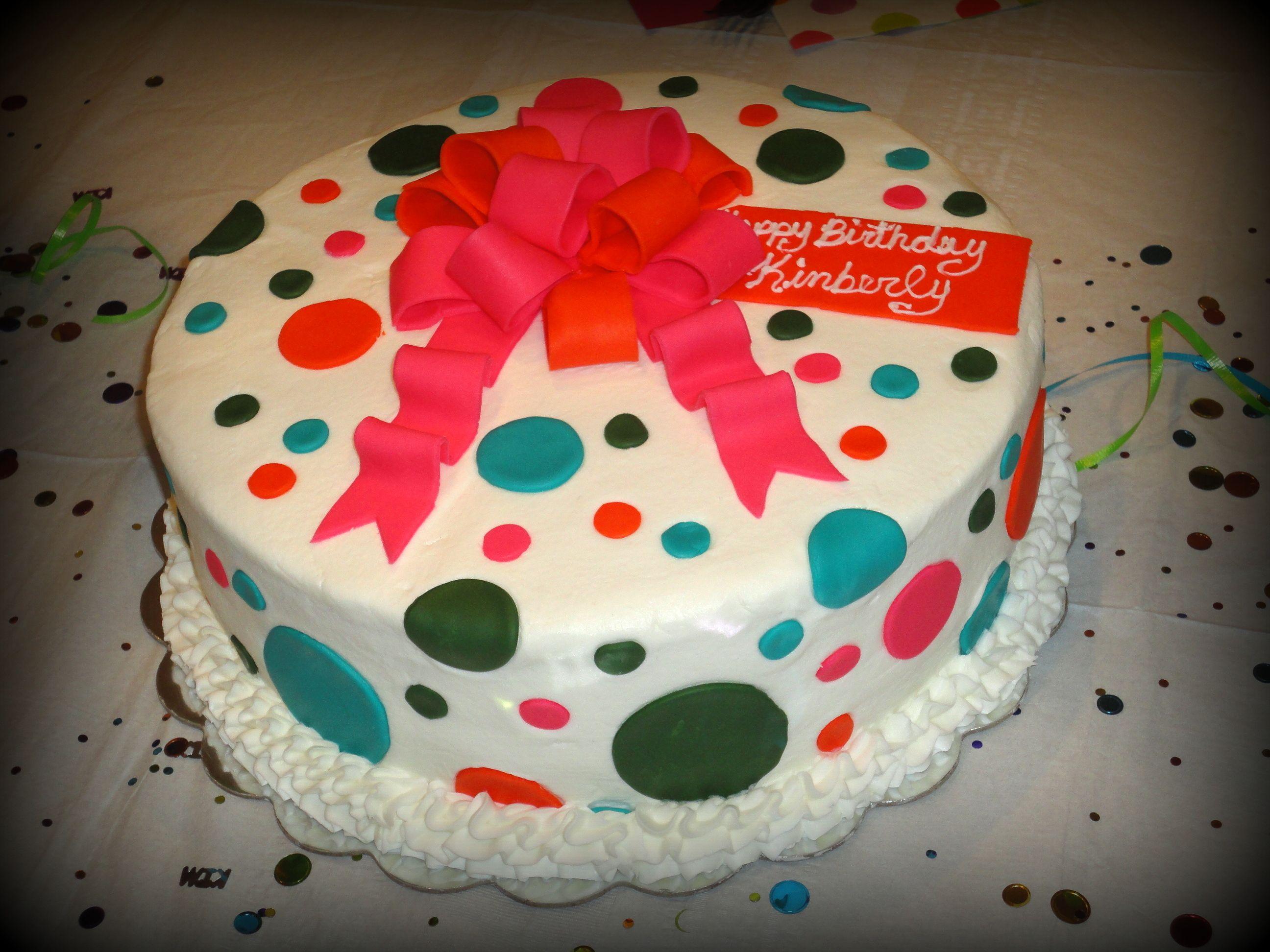 Birthday Cake With Name Tag ~ Polka dot birthday with a bow cake name tag says happy birthday