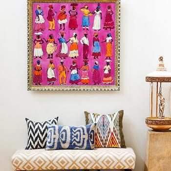 Colorful Framed Art above Upholstered Bench with Accent Pillows ...