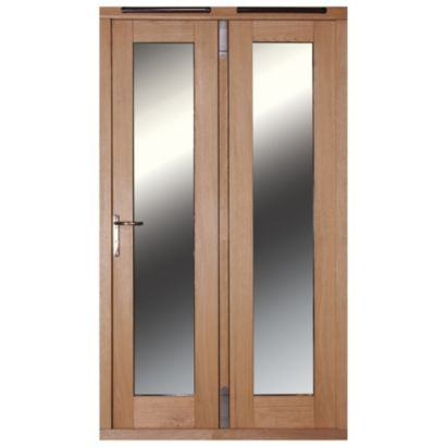 4ft Folding French Door Right Hand White Oak Veneer With Satin Chrome Hardware 2090x1190mm, 20057