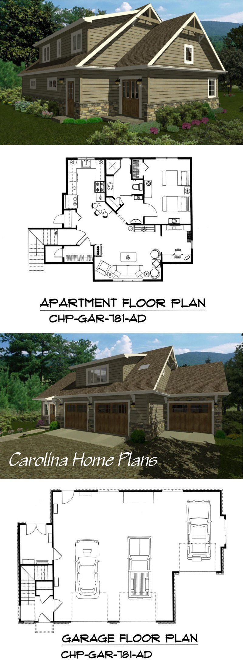 craftsman style 2 car or 3 car garage apartment plan gar 781 ad craftsman style 2 car or 3 car garage apartment plan gar 781 ad see floor plan details and specifications build in stages pinterest garage