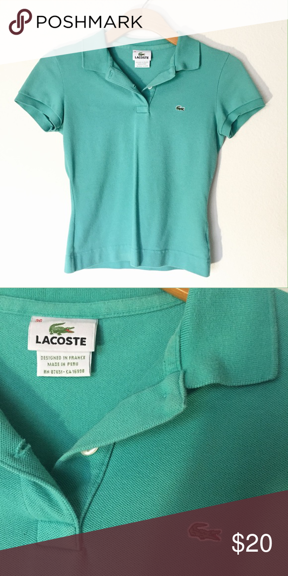 835818c52c4 UNWORN Lacoste collared teal shirt