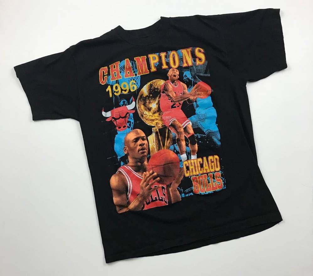 6b61836b697a Vintage Vintage Chicago Bulls Rap Tee Michael Jordan Championship 1996 Ring T  Shirt Dennis Rodman Scottie Pippen All Over Print 90s Size US XL / EU 56 / 4