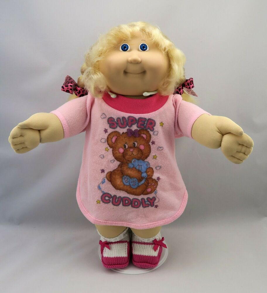 Cabbage Patch Kids Girl Doll Blonde Cpk Cornsilk Hair Blue Eyes Pjs Clothes Vintage Cabbage Patch Dolls Cabbage Patch Dolls Cabbage Patch Kids