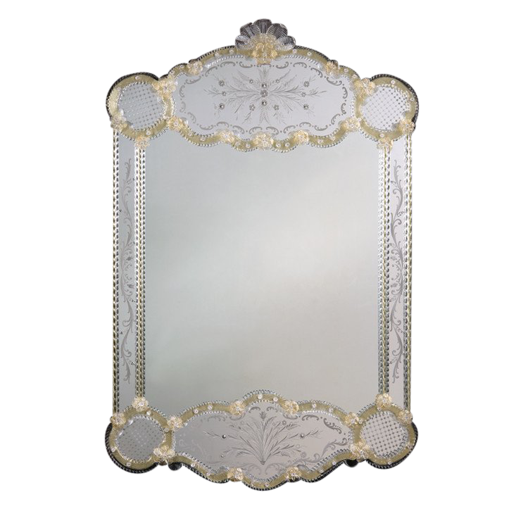 Modern Venetian mirror with hand etched glass and gold highlights trimmed with glass ribbons and Model - Luxury venetian glass mirror Amazing
