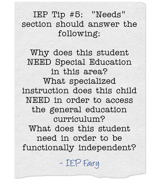 Iep Tip 5 Needs Section Should Answer The Following Why Does This