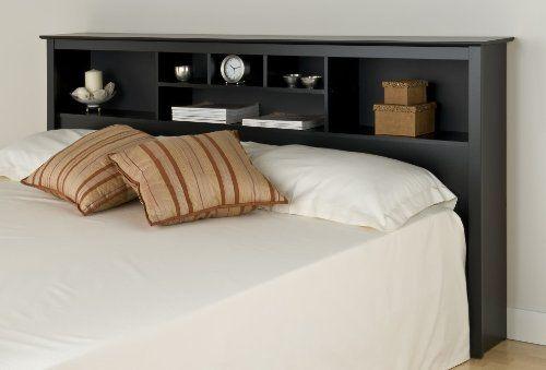 Bookcase Style Black Finish King Size Storage Headboard (bestseller)