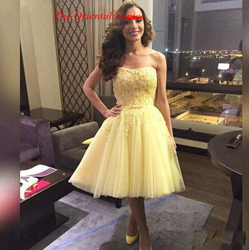 Click to Buy << Cheap Yellow Knee Length Homecoming Dresses under ...