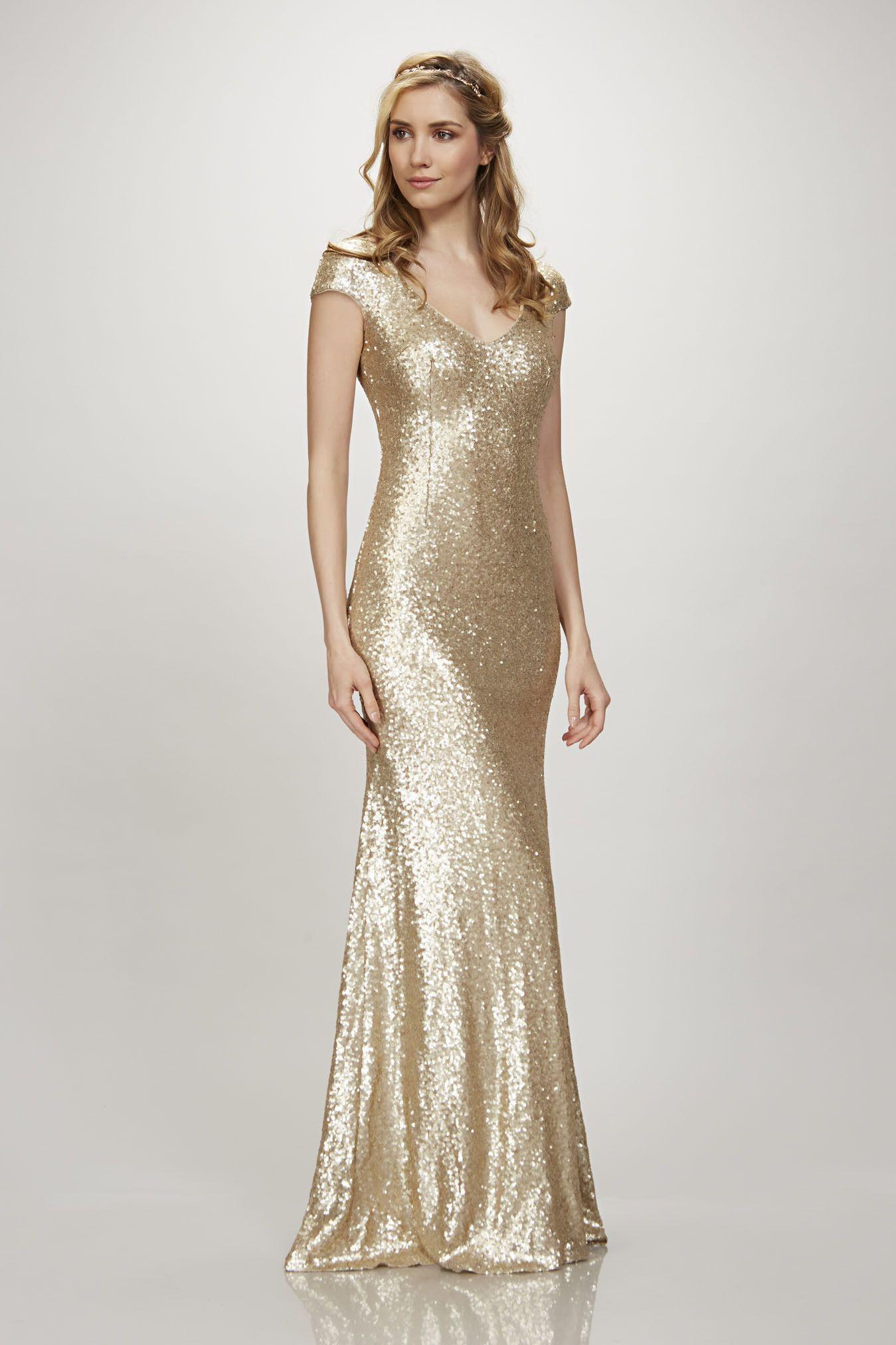 Cap sleeve vneck sequin gown wedding bridesmaids and groomsmen