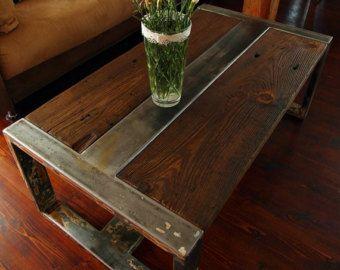 Handmade Rustic Reclaimed Wood & Steel Coffee by DesignInFocus Wood Steel Industrial Coffee Tables