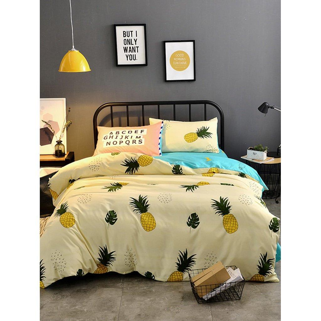 20m 4Pcs Pineapple Print Duvet Cover Set
