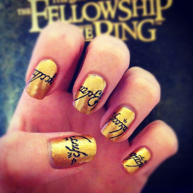 Lord of the Ring nails. Gold nails, black fine tip sharpie, patience ...