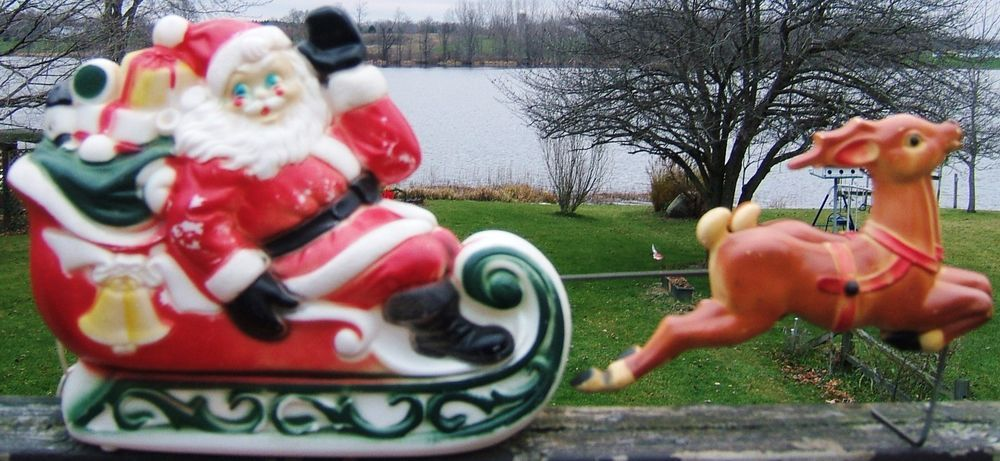 check out christmas santa in sleigh reindeer blow mold empire electric light vintage 1970 http