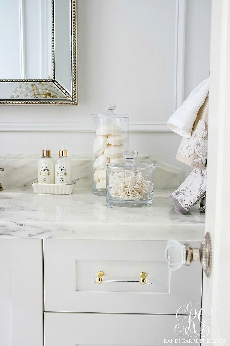 Photo of Glam Transitional Guest Bathroom Reveal – with Marble Silver and Brass