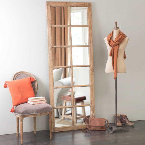 Miroir fenêtre en bois H 198 cm CHAUVIGNY Diy decoration - Peindre Fenetre Bois Interieur