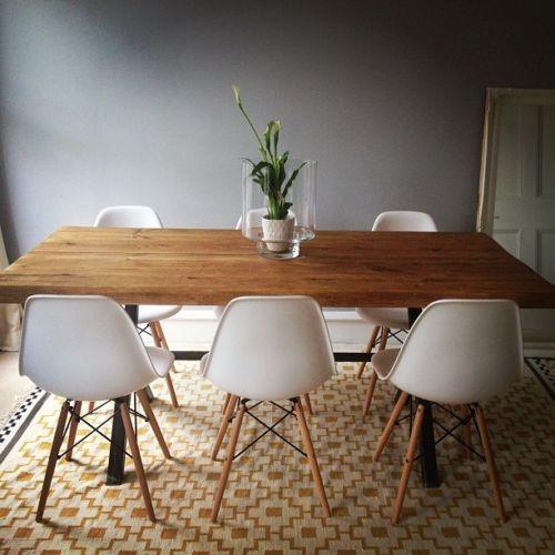 Vintage Industrial Rustic Reclaimed Plank Top Dining Table ...