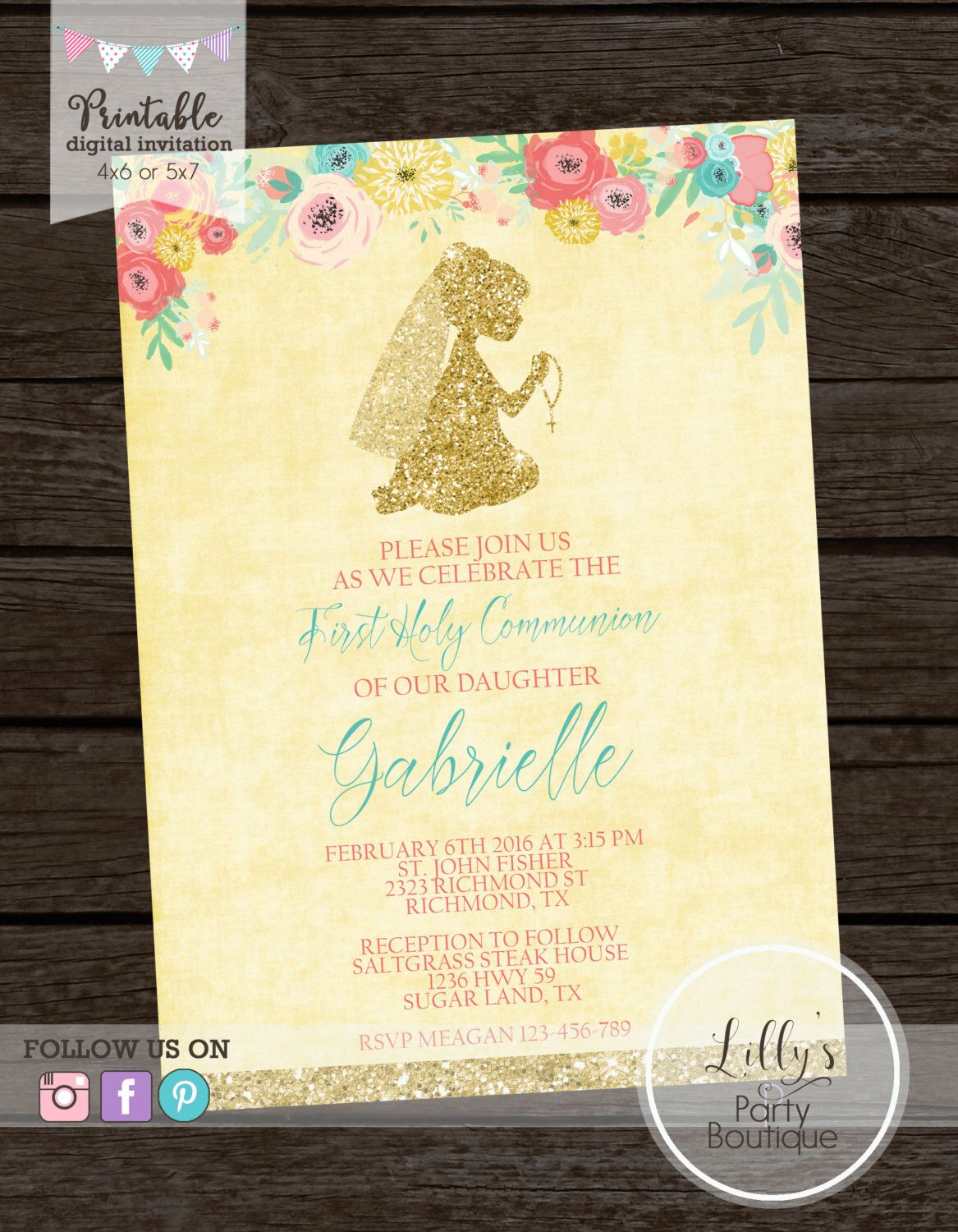 Girl First Holy Communion Invitation Baptism Invitation Floral