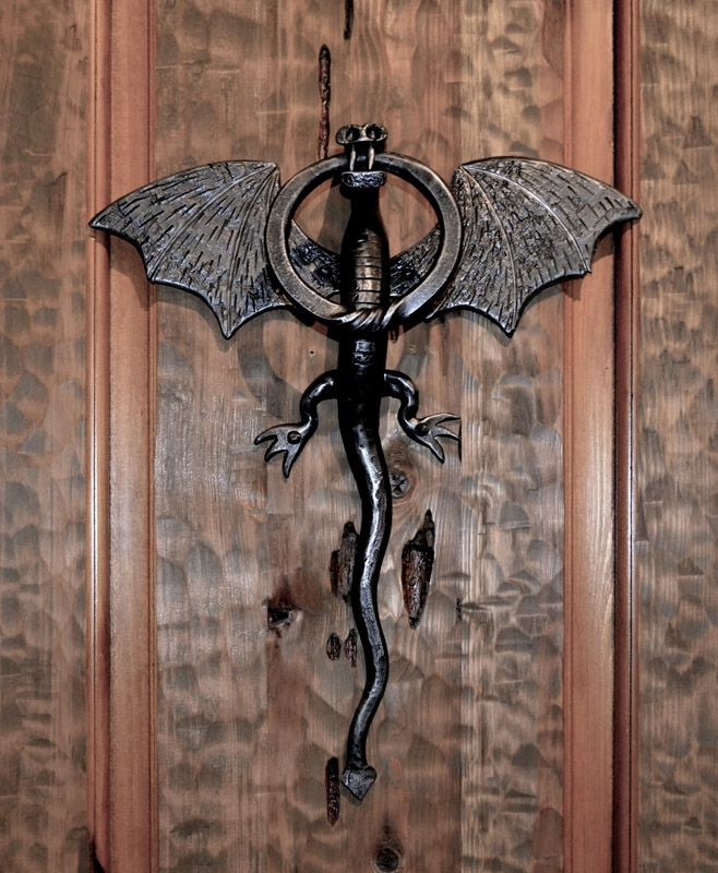 Dragon door knocker on a castle door medieval castle replica by scottsdale art factory - Dragon door knocker ...