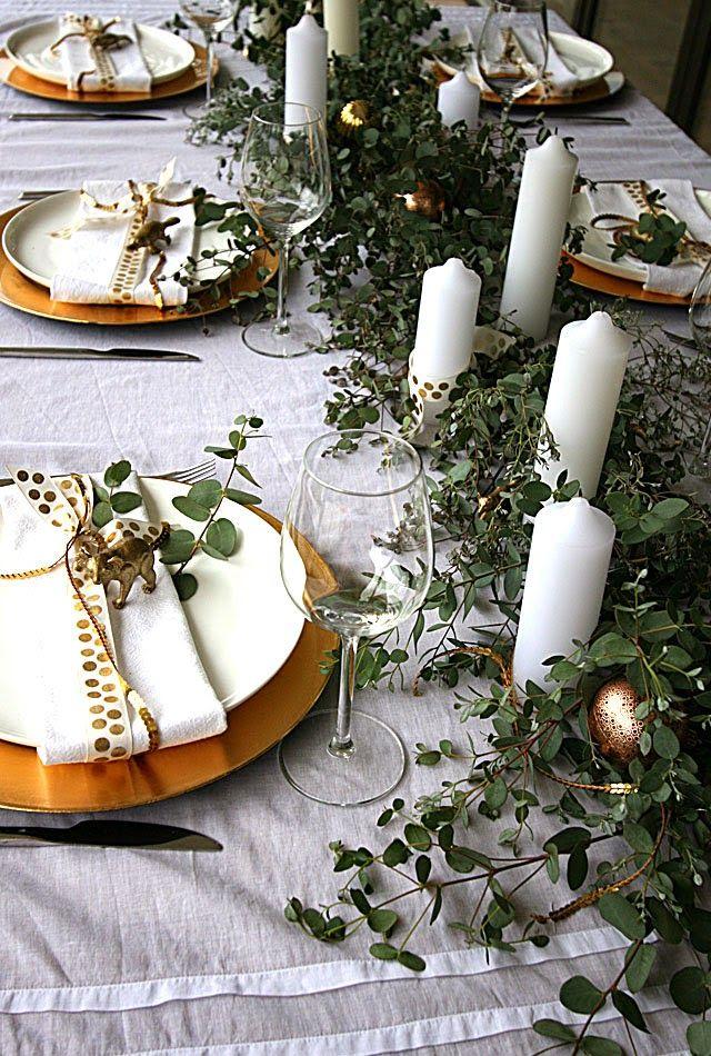 Australian Inspired Christmas Eucalyptus And Golden Sunshine Christmas Table Settings Christmas Settings Diy Christmas Table