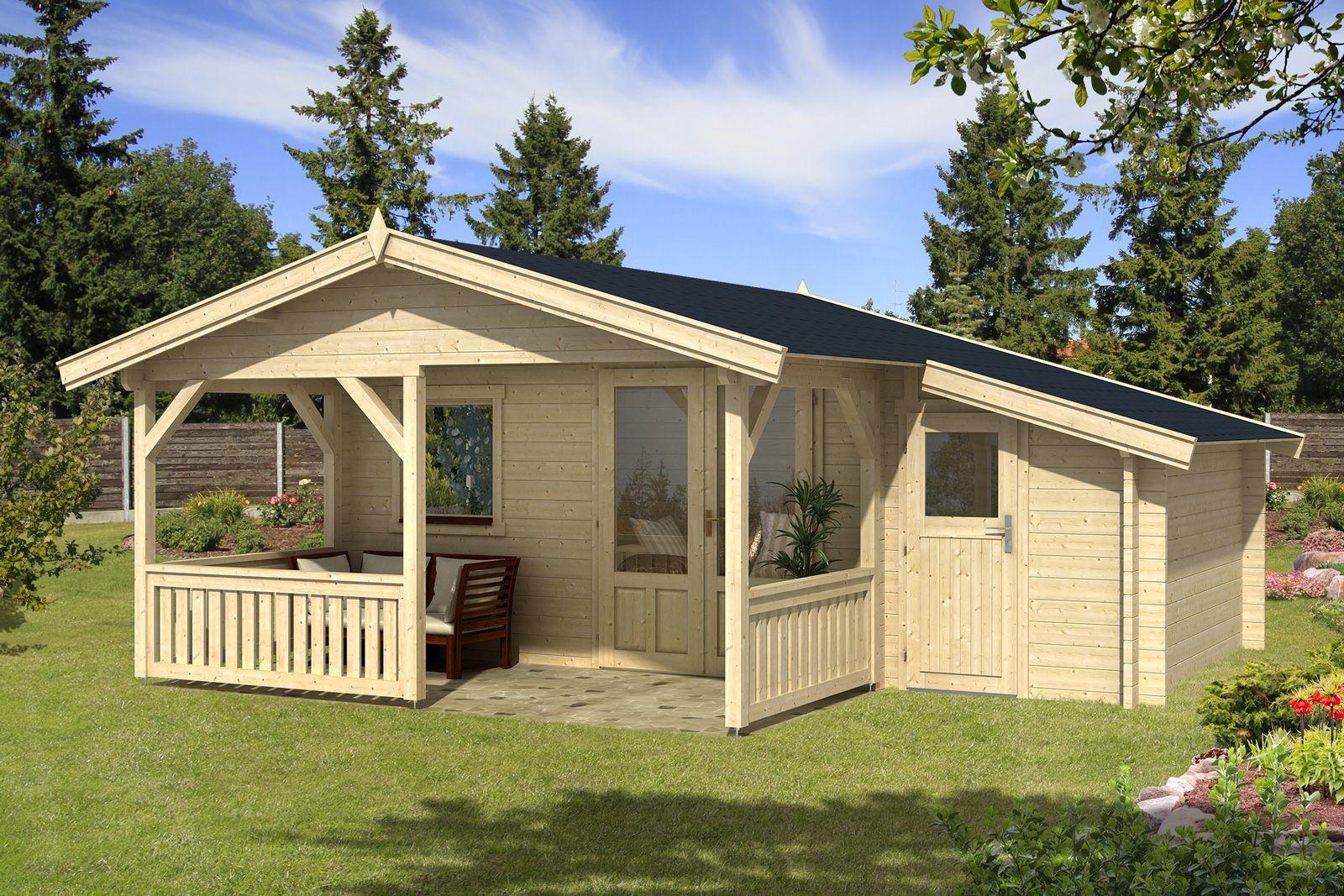 Gartenhaus Flex 50A mit 200cm Terrasse + Anbau 4x3+2Z