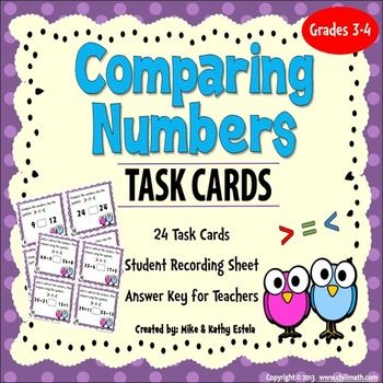 Comparing Numbers Task Cards **FREE**   Elementary Math   Pinterest ...