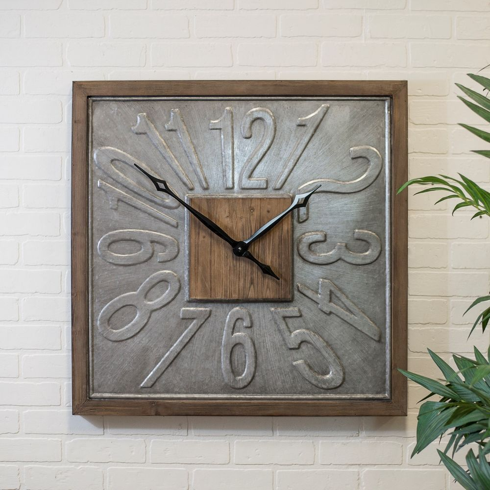 Large Square Wall Clock Wood Framed Metal 31 Hanging Clock With Embossed Number Ebay Square Wall Clock Wall Clock Wall Clock Modern