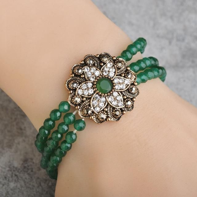 elastic turkish jewelry red african beads crystal flower bracelet vintage resin antique gold stretch bracelets