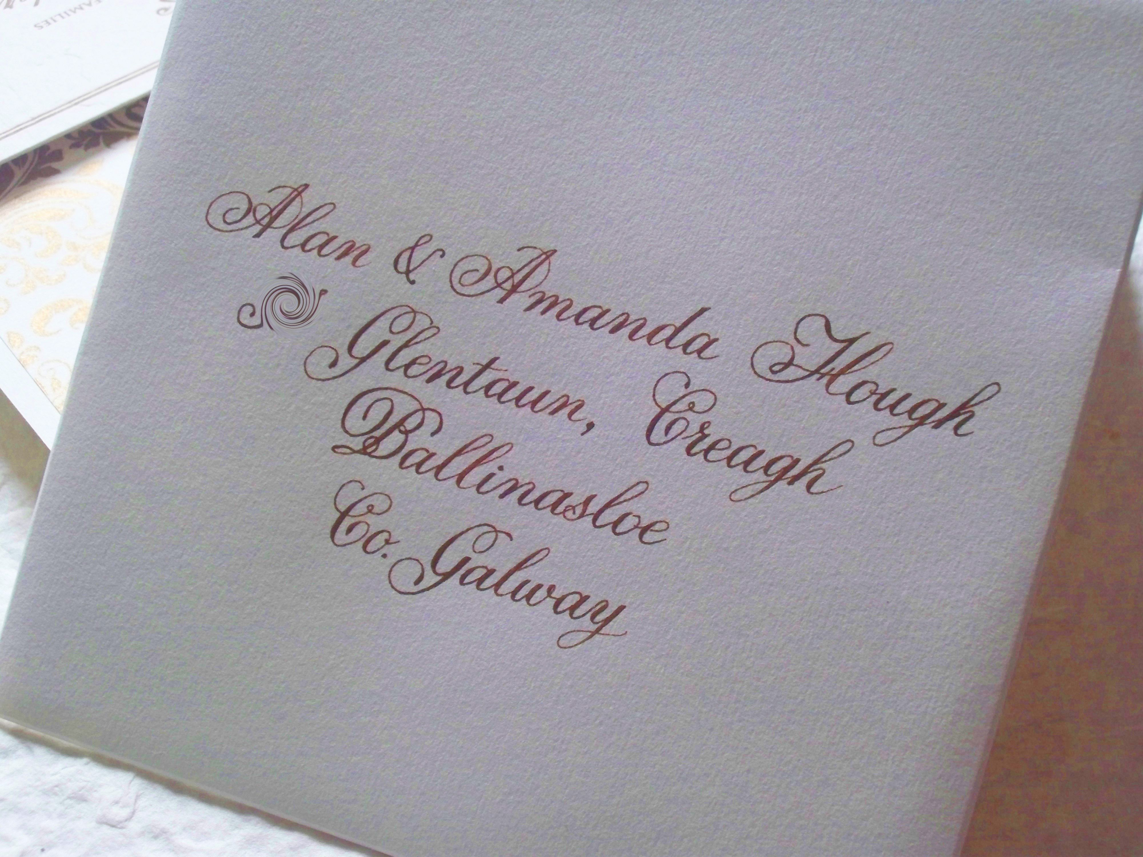 Wedding Envelope Calligraphy Hand Lettered Flemish Script