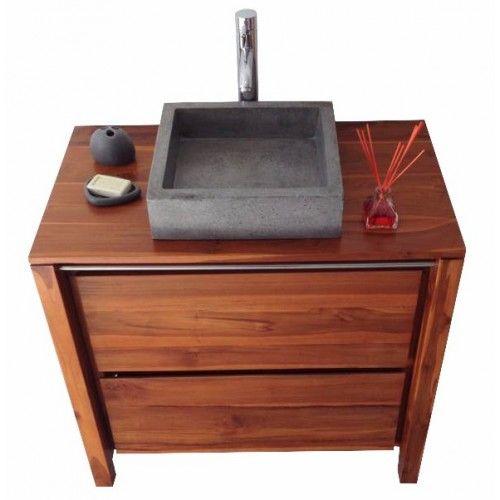 Meuble de salle de bain en teck vernis Sirocco natural solo - meuble salle de bain pierre naturelle
