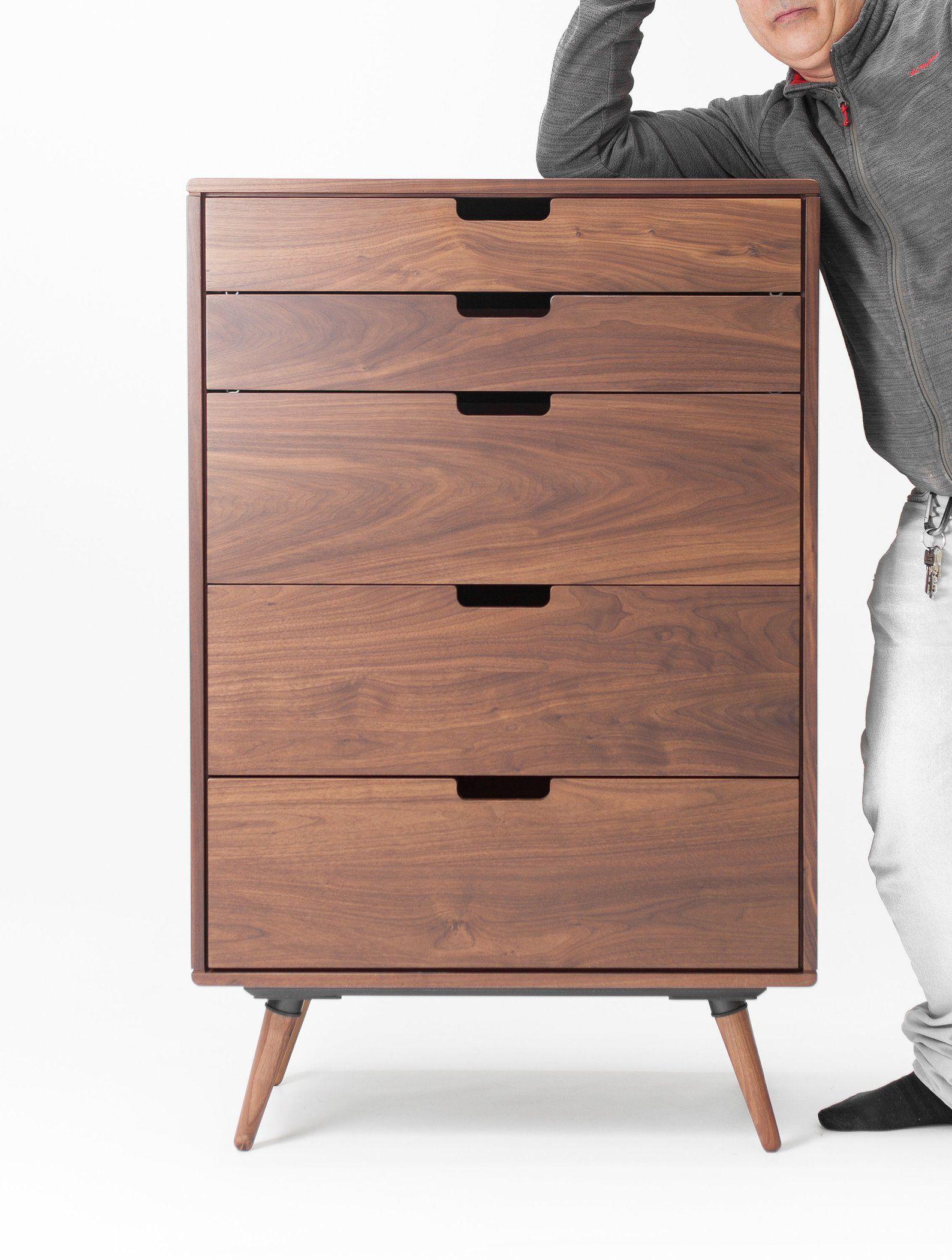 Chest Of Drawers Tallboy Mid Century Scandinavian Style In Etsy Walnut Furniture Dresser Decor Mid Century Modern Dresser