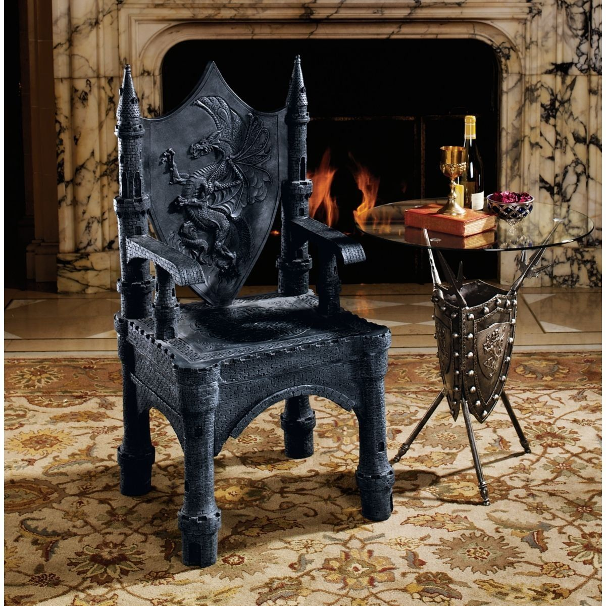 Gothic furniture chair - Gothic Medieval Dragon Sculptural Side Corner Chair