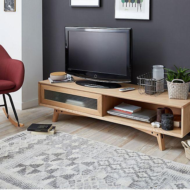 Leon Meuble Tv coloris chêne clair Idées coloc Pinterest - Sweet Home D Meubles A Telecharger