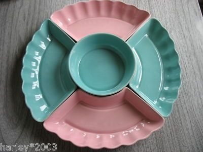 Serving Dish & Dip Set ~ Pink, Green, Vintage Look, USA