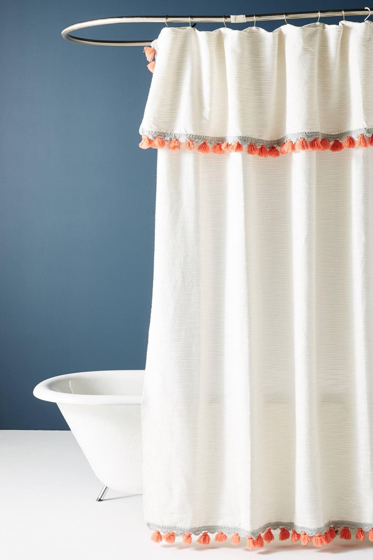 Tasseled Arden Shower Curtain Boho Shower Curtain Boho Shower