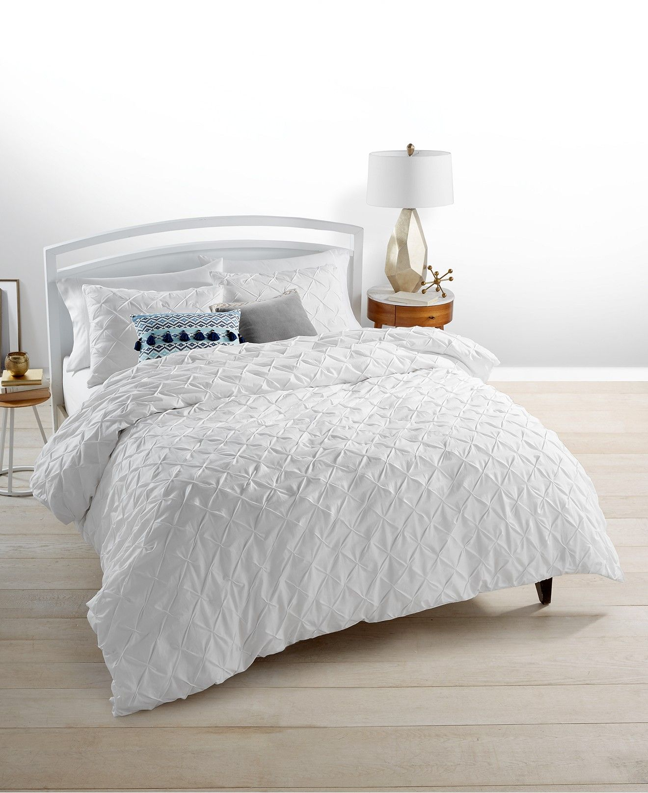 Whim by Martha Stewart Collection You pleat Me White Duvet Sets