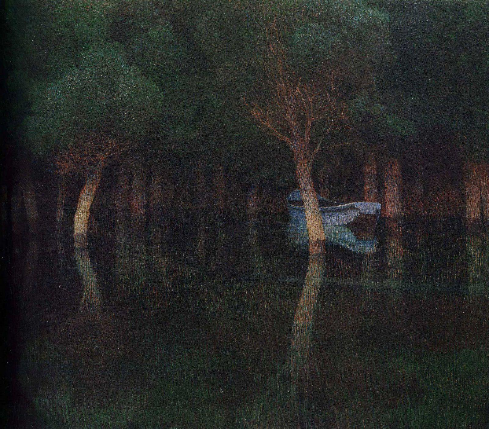 Carl Moll - Twilight, c. 1900 | Art, Night painting, Landscape art
