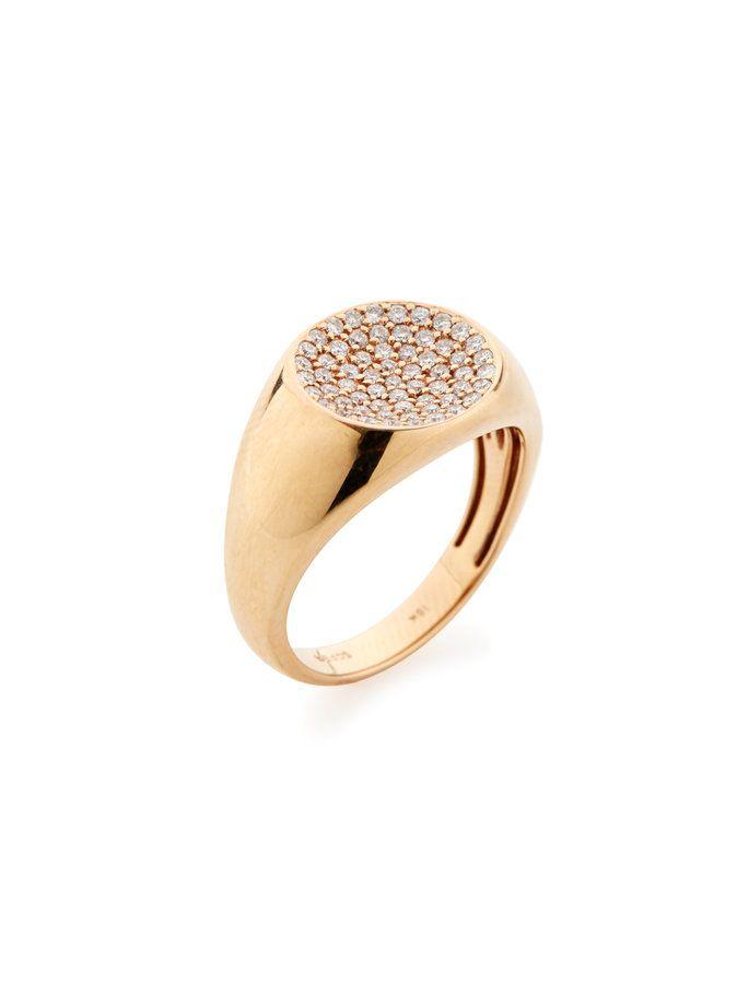 18K Rose Gold Diamond Dome Ring
