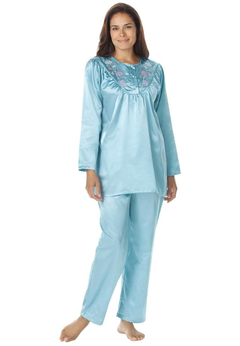 Only Necessities Womens Plus Size Brushed Back Satin 2Pc Pajamas