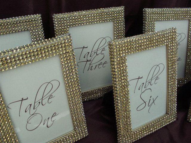 Set Of 10 Gold Rhinestone Ribbon Wrap 4x6 Frames Table Number