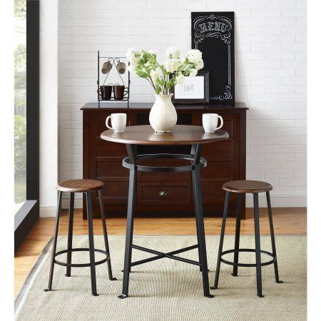 Mainstays Round 3pc Metal Pub Set with Wood Top Dark Mahogany